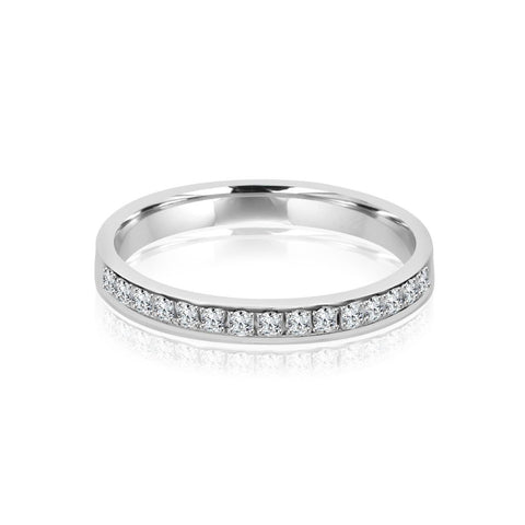2.4MM CHANNEL PAVÉ-SET DIAMOND RING IN 18K WHITE GOLD - 0.25CTS