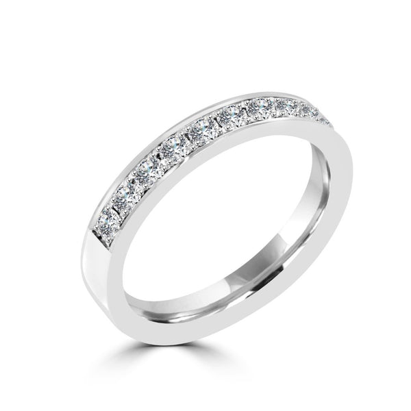 3.1MM CHANNEL PAVÉ-SET DIAMOND RING IN 18K WHITE GOLD - 0.50CTS