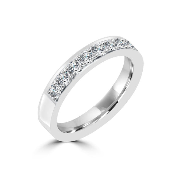 3.6MM CHANNEL PAVÉ-SET DIAMOND RING IN 18K WHITE GOLD - 0.75CTS