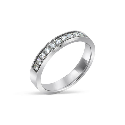 1.65MM CHANNEL PAVÉ-SET DIAMOND RING IN 18K WHITE GOLD - 0.33ct