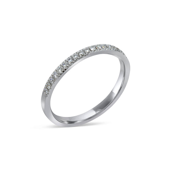 1.6MM PAVÉ-SET DIAMOND RING IN 18K WHITE GOLD - 0.15ct