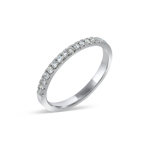 1.7MM PAVÉ-SET DIAMOND RING IN 18K WHITE GOLD - 0.25ct