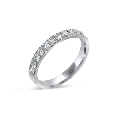 1.6MM PAVÉ-SET DIAMOND RING IN 18K WHITE GOLD - 0.50ct