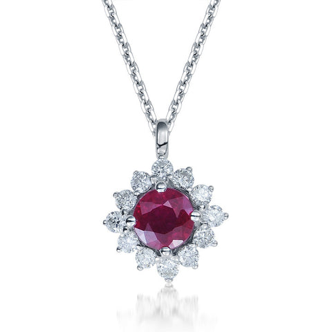 RUBY AND DIAMOND HALO PENDANT IN 18K WHITE GOLD