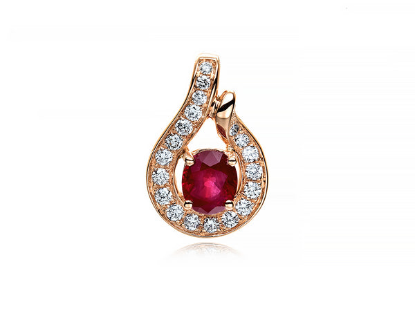 18K ROSE GOLD RUBY DIAMOND PENDANT