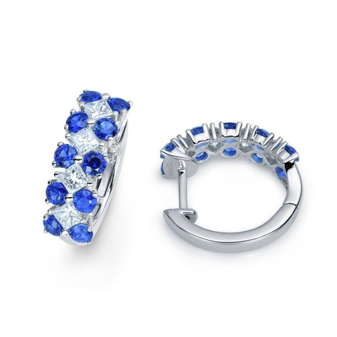 BLUE SAPPHIRE AND DIAMOND HUGGIE HOOPS IN 14KT WHITE GOLD