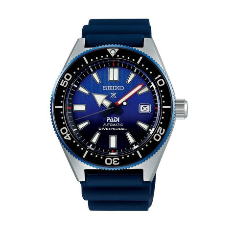 "(PRE ORDER SEPT 2018) SEIKO PROSPEX  ""PADI"" 1965 STYLE AUTOMATIC DIVERS ON BLUE  RUBBER  SPB071"