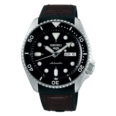 SEIKO 5 SPORTS AUTOMATIC WATCH IN BLACK SRPD55K2