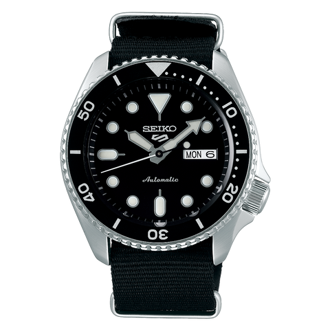 SEIKO 5 SPORTS AUTOMATIC WATCH IN BLACK SRPD55K3