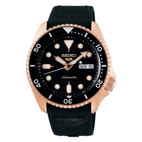SEIKO 5 SPORTS AUTOMATIC WATCH IN BLACK AND ROSE GOLD SRPD76K1