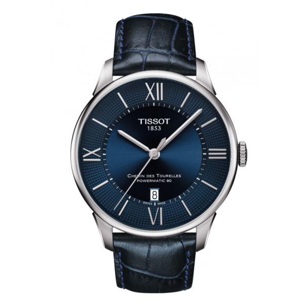 TISSOT CHEMIN DES TOURELLES POWERMATIC 80 BLUE DIAL AND LEATHER STRAP T0994071604800