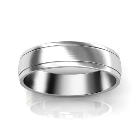 DOUBLE INLAY WEDDING RING IN PLATINUM (5mm)