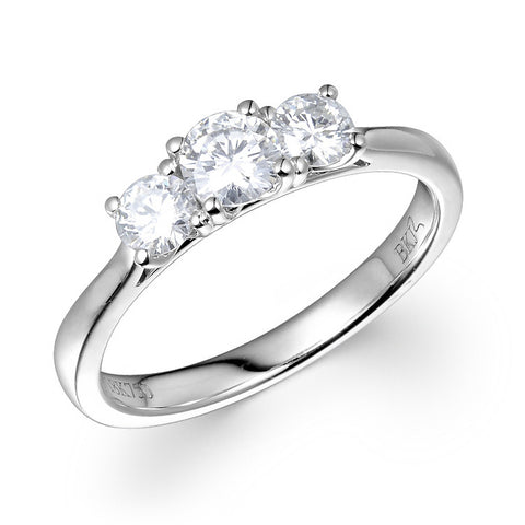0.64 CT. T.W. Three Stone Diamond Ring in 18K White Gold