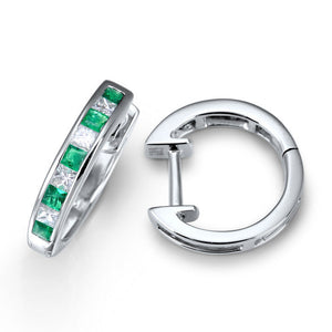 GREEN EMERALD AND DIAMOND HUGGIE HOOPS IN 18KT WHITE GOLD