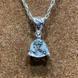 Trillion Cut White Topaz Gemstone Necklace in 10k White Gold