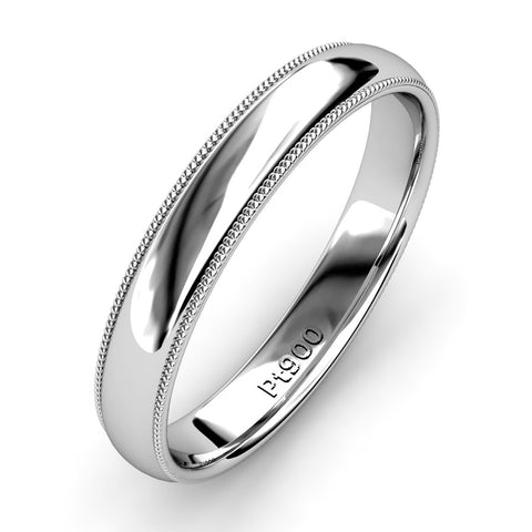 KIKO JAPAN MILGRAIN WEDDING BAND IN PLATINUM (3.5mm)