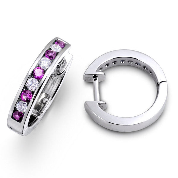 PINK SAPPHIRE AND DIAMOND HUGGIE HOOPS IN 18KT WHITE GOLD