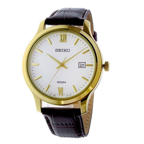 SEIKO QUARTZ WHITE DIAL BROWN LEATHER BAND MEN'S WATCH