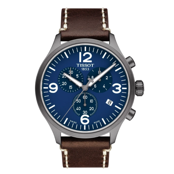 TISSOT CHRONO XL BLUE DIAL AND BROWN STRAP