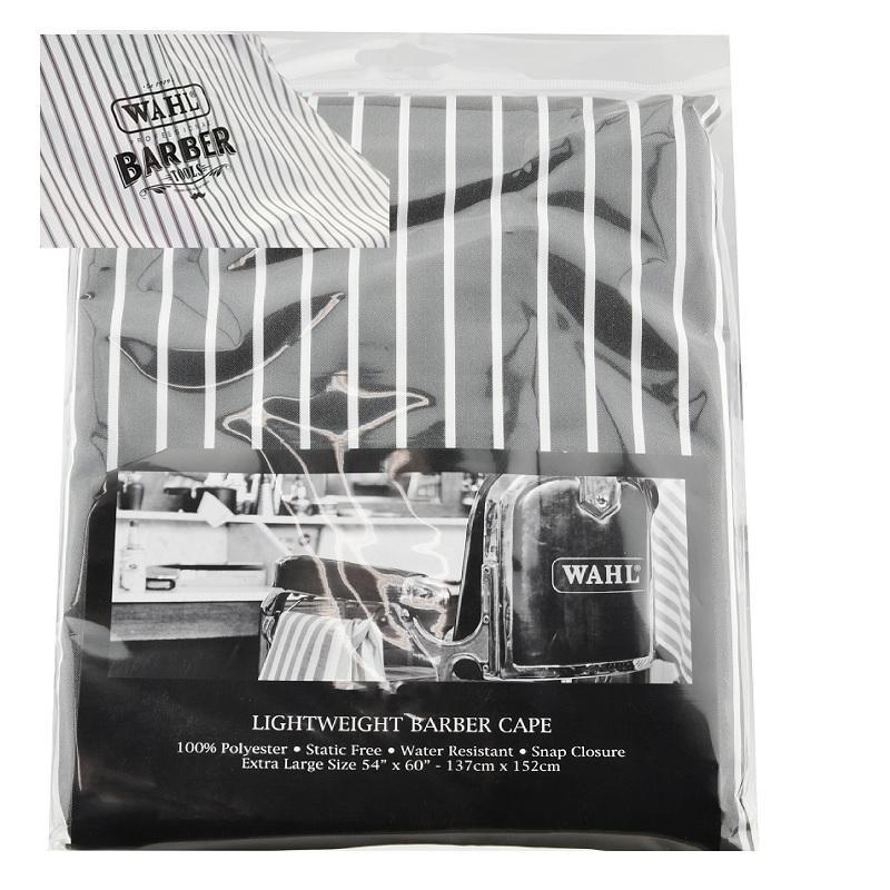 Wahl Lightweight Barber Cape in Grey with White Stripes