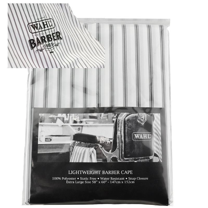 Wahl Lightweight Cape in White with Grey Stripes