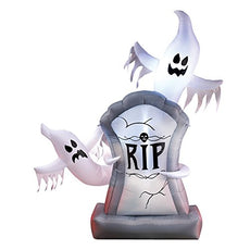 Collections Etc Inflatable, Lighted, Halloween Ghosts and Tombstone Décor - Over 5 Ft Tall