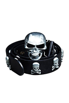 ByTheR Men's Fashion Chic Black Leather Metal Skull Studded Belt