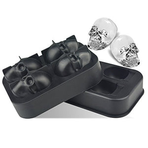 Silicone Ice Cube Trays - 3D Skull Ice Cube Molds for Whisky, Cocktail, Wine, Kitchen, Bar, Party and Halloween, 2 Pairs