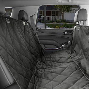 KOPEKS Dog Car Seat Cover - Black Waterproof Non Slip Padded Quilted Protector with Seat Anchors and Heat Straps