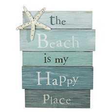 "Grasslands Road The Beach Is My Happy Place - Plank Board Sign with Starfish and Rhinestone Accents White, Blue 12"" X 9"""