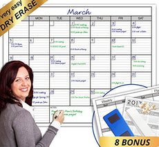 Dry Erase Monthly Laminated jumbo Wall Calendar, 38-Inch by 50-Inch