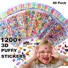 Kids stickers 1200+, 40 different Sheets, 3D Puffy Stickers for Kids, Bulk stickers for Girl Boy Birthday Gift, Scrapbooking, Teachers, Toddlers, Including Animals, Stars, Fishes, Hearts and More!
