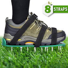 "Nosiva Lawn Aerator Shoes - Lawn Aerator Spike Shoes Heavy Duty Spiked Sandals with Zinc Alloy Buckles 2"" Spikes One Size Fits All 8 Adjustable Nylon Straps for Aerating Your Lawn or Yard"