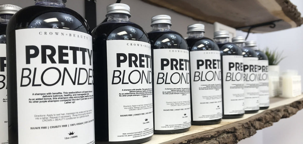 Row of organic and cruelty free PRETTY BLONDES purple Shampoo bottles for blond hair. 350 ml.