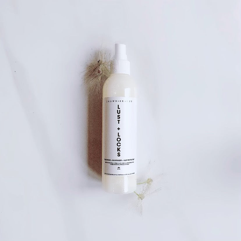 100% clean vegan organic sulphate-free LUST AND LOCKS leave-in conditioner to nourish, shine and protect hair. 150 ml