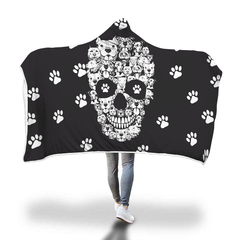 Pitbull skull hooded blanket