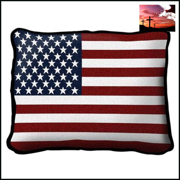 American Flag Hand Finished Woven Pillow Hand Finished Pillow