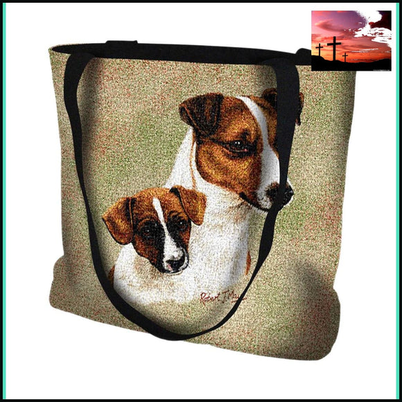 Jack Russell Terrier with Puppy Tote Bag TOTE BAG $20 - $50 Accessories ACCESSORY affordable gifts APPAREL & ACCESSORIES