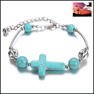 New 2016 Fashion Turquoise Cross Bracelets Women Vintage Silver Beads Chain Bangles Jewelry bracelet Accessories Bracelets Costume Jewelry