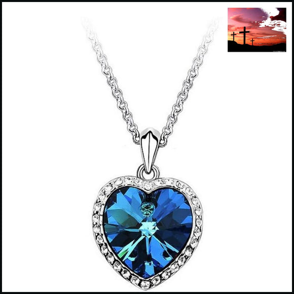 New Arrival Zircon Titanic Ocean Heart Silver Necklace Woman Sweater Chain Luxurious Fashion Statment Necklace for women necklace heart