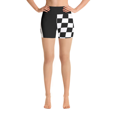 Black Duo Checkered Biker Shorts
