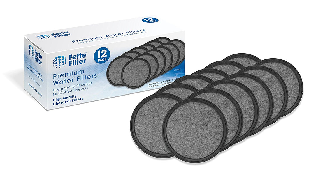 12-Pack - Mr. Coffee Compatible Water Filters - Universal Fit Mr. Coffee Compatible Filters - Replacement Charcoal Water Filter Discs for Mr. Coffee Coffee Brewers