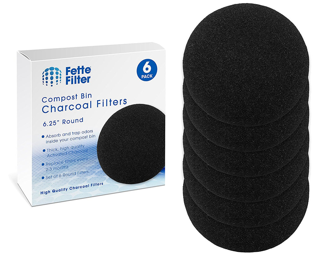 Compost Pail Filters. Compost Bin Charcoal Replacement Filters - 6-Pack