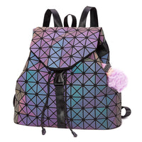 Geometric Holographic Flash Backpack with Keyring - The Urban Doll