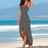 Black and White Stripe High Low Tank Dress - The Urban Doll