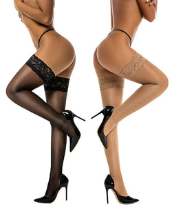 Silky Lace Top Thigh High Stockings (2 Pack) - The Urban Doll