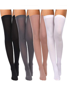 Solid Basic Colors Silky Nylon Thigh High Stockings (4 Pack) - The Urban Doll