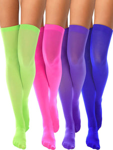 Solid Neon Colors Silky Nylon Thigh High Stockings (4 Pack) - The Urban Doll