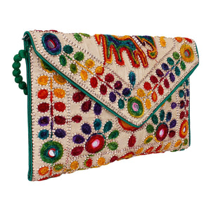 Boho Embroidered Envelope Clutch Purse with Pompom Strap - The Urban Doll
