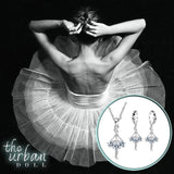 925 Sterling Silver and CZ Ballerina Necklace and Earrings Set - The Urban Doll